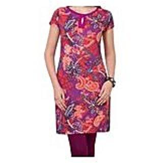 Ravishing Pink Knitted Cotton Printed Kurti