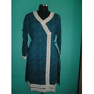Semi Stitched Cotton Printed With Beautiful Lace Work Kurti