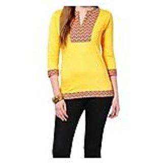 Sarvinis Yellow Knitted Cotton Kurti