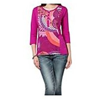 Sarvinis Fashion Pink Purple Printed Knitted Cotton Kurti