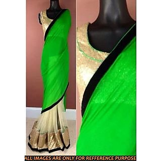 Green Pallu Half-Half Designer Saree - Online Shopping For Bollywood Sarees