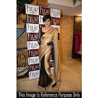 Mandira Bedi Half N Half Chikku N Black Saree With Blouse