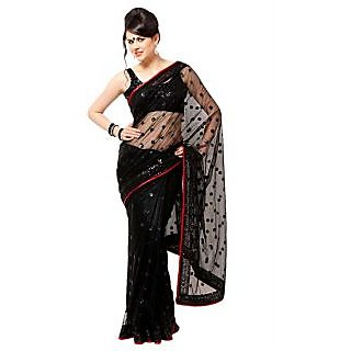 Nimya Black Border Work Net Saree With Blouse Piece