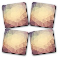 Abstract Shades Yellow Printed Wooden Kitchen Coaster Set Of 4