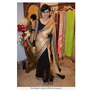 Richlady Fashion Mandira Bedi Georgette Plain Golden & Black Saree