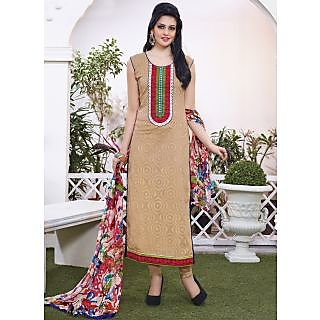 Vastrani Beige & Red Coloured Embroidered Salwar Suit 189D744