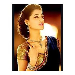 Richlady Fashion Nargis Fakhri 60 Gm Georgette Lace Work Blue Saree