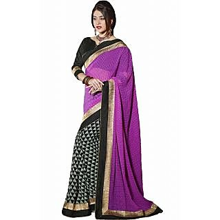 Pagli Purple With Black Half-half Georgette Printed Saree