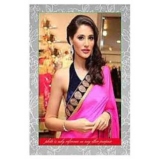 Richlady Fashion Nargis Fakhri Georgette Border Work Pink Saree