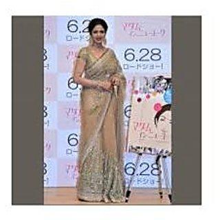 Richlady Fashion Sridevi Net Sequins Work Cream Saree