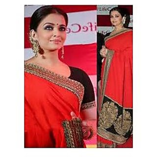 Richlady Fashion Aishwarya Rai Georgette Border Work Red Saree