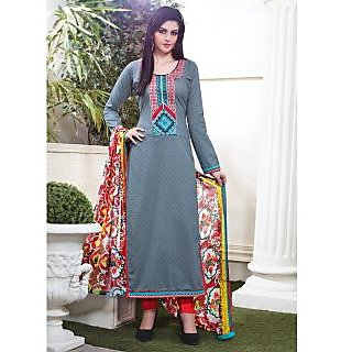 Vastrani Grey & Red Coloured Embroidered Salwar Suit 189D751