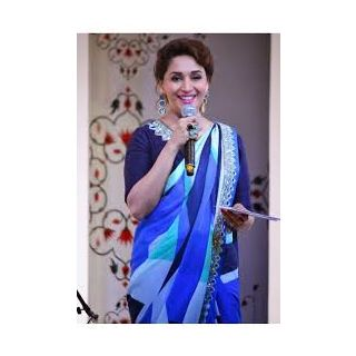 Richlady Fashion Madhuri Dixit Georgette Border Work Blue Saree