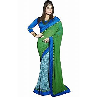 Pagli Green With Blue Half-half Georgette Printed Saree