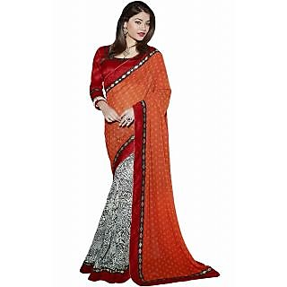 Pagli Orange With White Colour Printed Georgette Saree