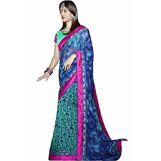 Pagli Blue Colour Half-half Printed Georgette Saree