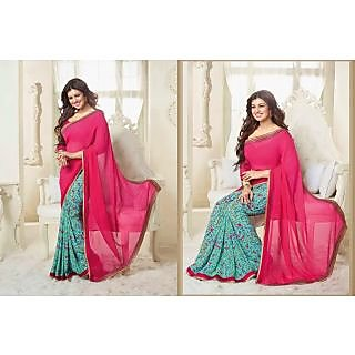 Georgette Pink Indian Saree Online