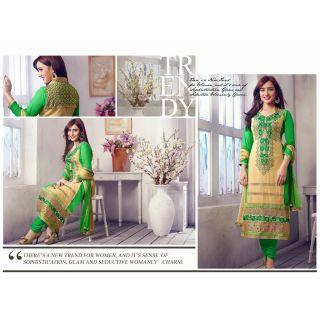 Georgette Cream Salwar Kameez Semi Stitched