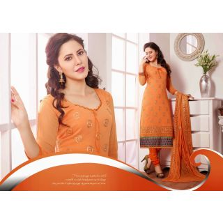 Chiffon Orange Salwar Kameez Semi Stitched