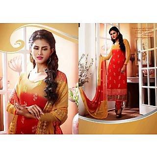 Chiffon Orange Online Salwar Kameez Semi Stitched
