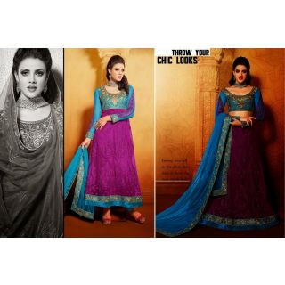 Net Violet Two In One Lehenga Suit