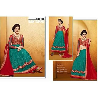 Net Teal Two In One Lehenga Suit Online