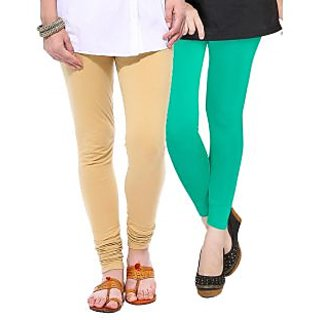 Medoo Womens Viscose Lycra Legging-Beige-Green