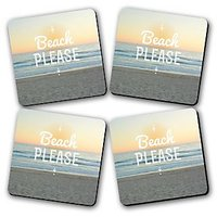 Beach Please Printed Wooden Kitchen Coaster Set Of 4