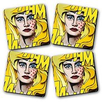 Betty's Printed Wooden Kitchen Coaster Set Of 4