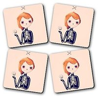 Bones Coster Printed Wooden Kitchen Coaster Set Of 4