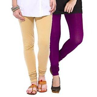 Medoo Womens Viscose Lycra Legging-Beige-Purple