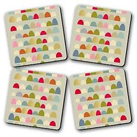 Delightful Rue Printed Wooden Kitchen Coaster Set Of 4