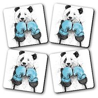 Dont Mess With Panda Printed Wooden Kitchen Coaster Set Of 4