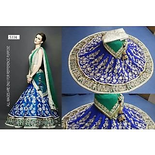 Navy Blue With Green Lehenga By Purple Oyster