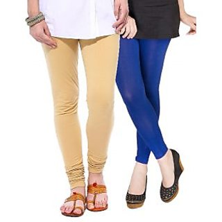 Medoo Womens Viscose Lycra Legging-Beige-Royal Blue