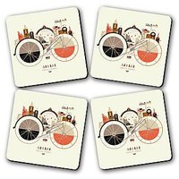 Endless Journey Printed Wooden Kitchen Coaster Set Of 4