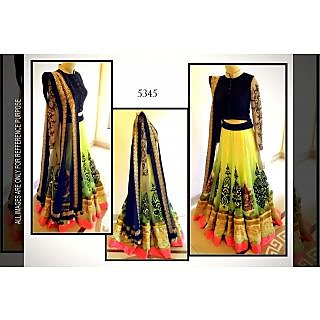 Lime Net With Golden And Neon Combination Lehenga By Purple Oyster