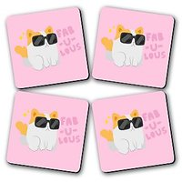 Fab-U-Lous Printed Wooden Kitchen Coaster Set Of 4