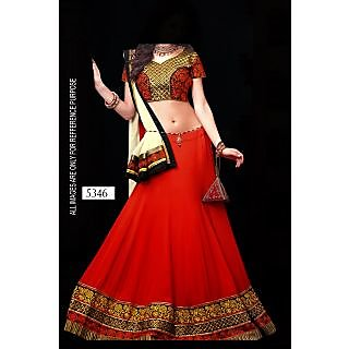 Red Georgette Lehenga With Thread Work Blouse By Purple Oyster