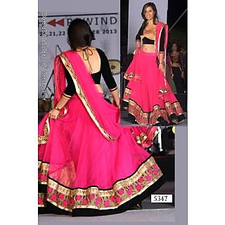 Pink Net Lehenga With Black Blouse By Purple Oyster