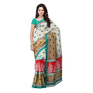 Fabdeal Beige & Red Colored Art Silk Printed Saree
