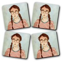 Geek Printed Wooden Kitchen Coaster Set Of 4