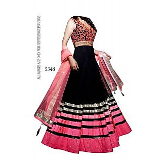 Black Anarkali Cum Lehenga By Purple Oyster