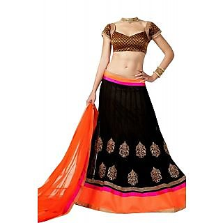 Black Lehenga  With Orange Dupatta By Purple Oyster
