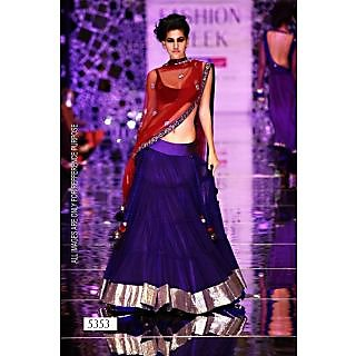 Blue Net Lehenga With Maroon Dupatta By Purple Oyster