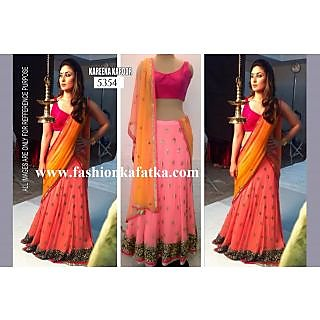 Kareena Pink And Orange Combination Lehenga By Purple Oyster