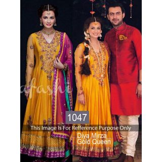 Diya Mirza Yellow Satin Silk By Purple Oyster