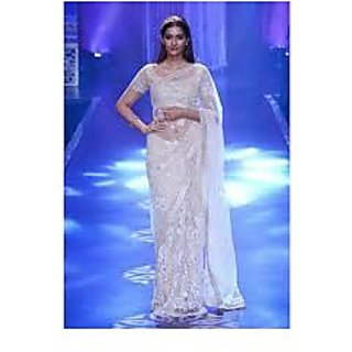Richlady Fashion Sonam Kapoor Net Sequins & Thread Work Off White Saree