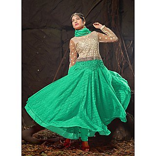 Vastrani White & Sea Green Coloured Embroidered Semi Stiched Anarkali 167D6002