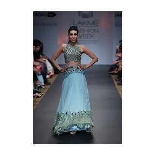Richlady Fashion Karisma Kapoor Net & Georgette Machine Work Sky Blue Lehnga Cho